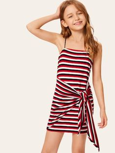 To find out about the Girls Tie Waist Striped Slip Dress at SHEIN, part of our latest Girls Dresses ready to shop online today! Preteen Girls Fashion, Girls Fashion Clothes, Teen Fashion Outfits, Kids Fashion, Cute Girl Outfits, Kids Outfits Girls, Little Girl Dresses, Girls Dresses, Dress Girl