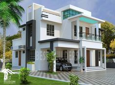 Contemporary Landscape Design Architecture House Ideas For 2019 Bungalow House Design, House Front Design, House Design Photos, Modern House Design, Dream House Plans, Modern House Plans, Flat Roof House, Kerala House Design, Villa Design