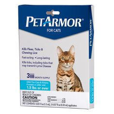 PETARMOR Flea & Tick Treatment for Cats with Fipronil (Over Pounds), 3 Monthly Applications - PetArmor Flea and Tick Squeeze-On for Dogs provides the same active ingredient, fipronil, in the same concentration as Frontline Top Spot. Flea Treatment, Animal Pound, Tick Removal, Deer Ticks, Tick Control, Cats For Sale, Cat Fleas