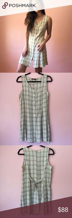 Vintage Plaid Summer Dress Bring on the heat wave with this easy breezy vintage plaid dress. Features a scoop neck, sleeveless, abalone shell decorative buttons, back tie and mini length. Wear with white sneakers or low heeled sandals. Fits one size. Made in the USA. No returns allowed. Please ask all questions before buying. IG: [at] jacqueline.pak #vintage Vintage Dresses Mini