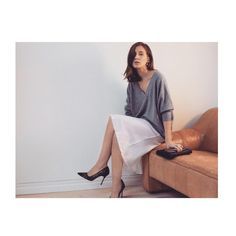 My gorgeous @wemakeitlast partner @emma_elwin in @lisayangcollection sweater and #organicbyjohnpatrick dress, on our new office couch from @lauritzdotcom #seasonless