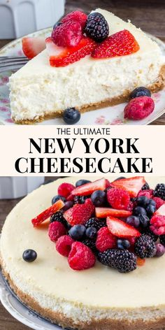 Learn all the secrets to making the perfect New York Cheesecake everytime. The texture is smooth and creamy without being too dense, and it has a delicious, slightly tangy flavor that's totally decadent. recipes New York Cheesecake Ultimate Cheesecake, Easy No Bake Cheesecake, Baked Cheesecake Recipe, Homemade Cheesecake, Classic Cheesecake, Cheesecake With Sour Cream, New York Style Cheesecake, Strawberry Cheescake Recipe, Desserts With Cream Cheese