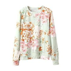 Floral Knit Sweatshirt With Text Front (19 BRL) ❤ liked on Polyvore featuring tops, hoodies, sweatshirts, sweaters, shirts, stylemoi, floral top, flower print tops, sweatshirt shirts and sweat tops