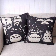 """Two black-and-white pillows of Totoro from the Studio Ghibli animated film, """"My Neighbor Totoro (となりのトトロ/Tonari no Totoro)"""". Decorative Pillow Covers, Throw Pillow Covers, Pillow Cases, Throw Pillows, White Pillows, Cushion Covers, Chair Covers, Accent Pillows, Studio Ghibli"""