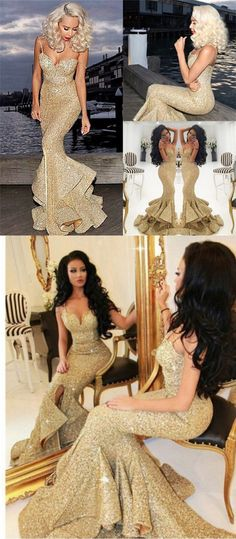 2017 prom dress, gold sequins long prom dress, mermaid prom dress with slit, spaghetti long prom dress