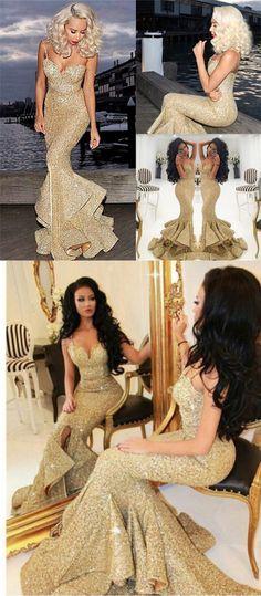 2017 prom dress, gold sequins long prom dress, mermaid prom dress with slit, spaghetti long prom dress