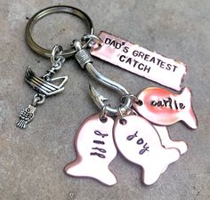 Excited to share this item from my #etsy shop: Dad's Greatest Catch, Fishing Keychain, Our Best Catch Dad, Fish Keychain, Personalized Fishing Keychain, Hand Stamped, natashaaloha