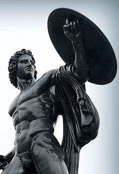 A shield is good to block arrows and thrust. But can it block a crush? Ancient Greek Sculpture, Ancient Art, Roman Sculpture, Modern Sculpture, Greek Mythology Tattoos, Masculine Art, Trash Art, Art Of Man, Marble Art