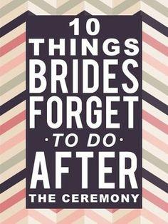 Dinge, die man direkt nach der Trau-Zeremonie nicht vergessen sollte