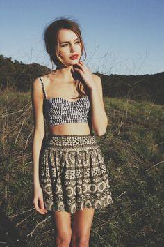 Indie style | fashion beautiful vintage indie skirt retro crop top