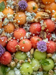 This savory triple melon ball salad is perfect for summer! Juicy, fresh melon drizzled with lemon vinaigrette, topped with blue cheese and toasted walnuts. A heavenly sweet and savory combo that I can't get enough of! Melon Salad, Fruit Salad, Chive Blossom, Lemon Vinaigrette, Fresh Chives, Potato Skins, Blue Cheese