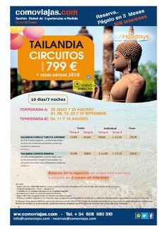 Oferta Nuevo Circuito TAILANDIA CIRCUITOS desde 799 € + tasas aéreas 385€ 10 días/7 noches RESERVA YA..... info en info@comoviajas.com y al 608 980 310 WhatsApp. haz clik aqui y reserva  #solteros #vacaciones #comoviajas #singles #oferta #escapadas #buceo #phuket #tailandia