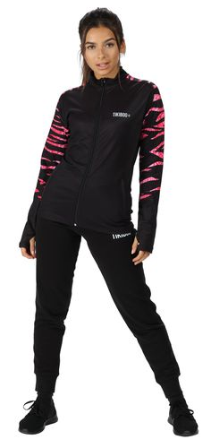 Featuring a unique zebra and snakeskin hybrid print across the upper back and sleeves, the Zebra Cobra Blush jacket blends pink and black for a stylish and wild workout top.  Cut from soft, breathable fabric, this comfortable jacket is essential for colder weather during warm-ups or outdoor training sessions. It defends against sweat and raindrops, wicking away moisture and staying lightweight and opaque.