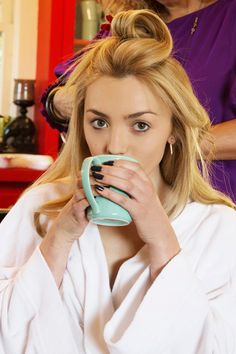 Peyton List sips tea while tells us all about her getting ready playlist