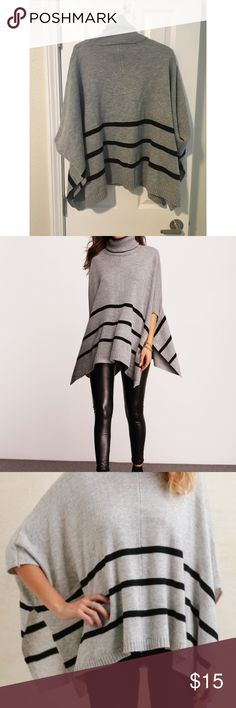 Grey Poncho Grey turtleneck sweater with black stripes  Poncho style  One Size but fits more S/M Sweaters Shrugs & Ponchos