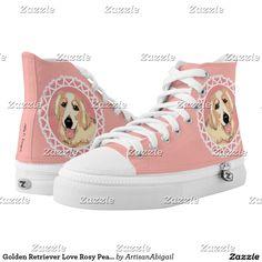 Golden Retriever Love Rosy Peach Shoes; ArtisanAbigail at Zazzle