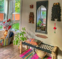 Pinkz Passion : Whimsically Ethnic Home Tour of Poornima Murthy Home Room Design, Home Interior Design, Living Room Designs, House Design, India Home Decor, Ethnic Home Decor, Indian Room Decor, Indian Bedroom, Indian Inspired Decor