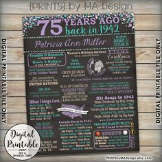 75th Birthday 1942 Printable Chalkboard Style Poster -- A fun birthday poster filled with facts, events, and tidbits from the USA in 1942. Makes an excellent gift or party decoration! See below for how to customize your poster, as well as how to print it! *** DIGITAL PRINTABLE FILES ONLY! No physical prints will be sent *** • RUSH ORDER AVAILABLE! See below for info. • This digital print comes with the facts AS SHOWN in the examples. Changing any of the facts will require an additional fee…