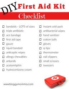Do you have a First Aid Kit in your car? If you plan to be out and about grab this FREE checklist on how to perfectly stock your homemade first aid kit! First Aid Kit Checklist, Diy First Aid Kit, First Aid Tips, Camping Checklist, Basic First Aid Kit, First Aid Kit Supplies, School Supplies, Emergency Preparedness Kit, Emergency Preparation