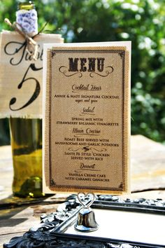 Burlap Wedding Menus