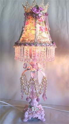Shabby French Pink Roses Boudoir Lamps | Sheris Crystal Designs