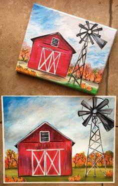 How To Paint A Fall Barn - Step By Step Painting. Easy Canvas Painting, Autumn Painting, Diy Painting, Painting & Drawing, Canvas Art, Barn Drawing, Canvas Ideas, Painting Lessons, Painting Techniques
