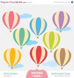 Hot Air Balloon Digital Clipart