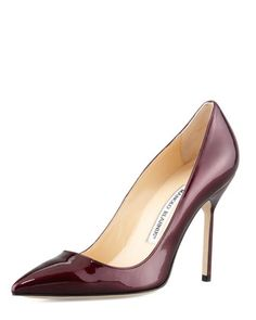 Liquid. Wine colored patent flat out sexiness. The iconic manolo BB was named after Brigitte Bardot! Manolo Blahnik $595 | Neiman Marcus.