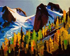 The Bugaboos in Fall, by Michael O'Toole Landscape Art, Landscape Paintings, Watercolor Paintings, Canadian Painters, Canadian Artists, Autumn Painting, Mountain Paintings, Inspirational Artwork, Pastel