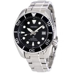 Black Watches For Men Sport Watches, Watches For Men, Wrist Watches, Stainless Steel Bracelet, Stainless Steel Case, Seiko Automatic, Citizen Watch, Seiko Watches, Men Necklace