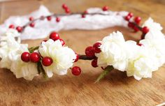 Wedding headband Ivory flower with red berryes  Bridal by visska, $44.75