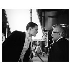 Sam Mendes and Martin Scorsese, with Leonardo di Caprio on the set of The Aviator, photographed by Brigitte Lacombe