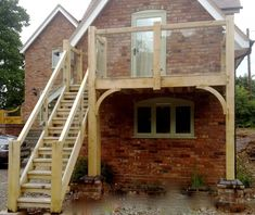 - All About Balcony Balcony Glass Design, Glass Balcony, External Staircase, Timber Staircase, Cottage Extension, Side Extension, Loft Conversion Bedroom, Outside Stairs, Room Above Garage
