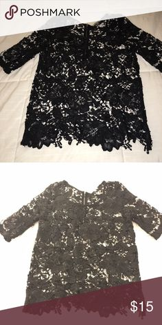Black lace quarter sleeve top All black lace quarter sleeve top. Love this top but my arms are a little too big for it. Brand new never worn with tags Tops Blouses
