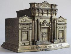 Dollar Savings Bank Rehberger still coin bank metal replica souvenir building