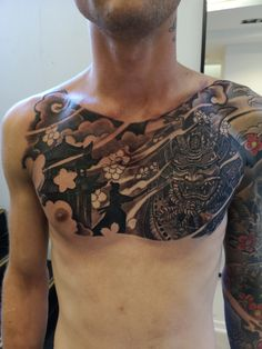 Tattoo Yura Brestskiy - tattoo's photo In the style Oriental, Black and grey, Male, Asian, Warrio Japanese Tattoos For Men, Japanese Tattoo Art, Japanese Tattoo Designs, Japanese Sleeve Tattoos, Tattoo On, Cover Tattoo, Chest Tattoo, Tattoo Photos, Asian Tattoos