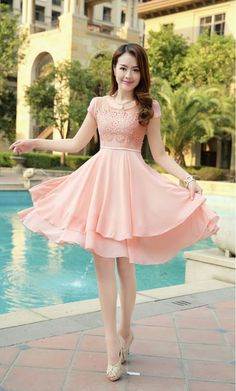 3c91590fae0 Elegantly layered chiffon dress with a lace top by YRBfashion.