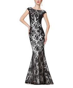 Loving this Black Lace Mermaid Gown on #zulily! #zulilyfinds