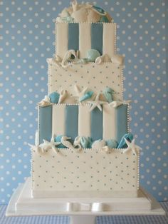 Blue Polka Dot Shells and Starfish Wedding Cake
