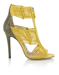 Jimmy Choo Yellow Strappy Sandal RTW Spring Summer 2015 Milan #Shoes #Heels