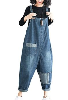 c8cd6151f5c Flygo Women s Loose Baggy Denim Wide Leg Drop Crotch Printed Bib Overalls  Jumpsuit Rompers (Large