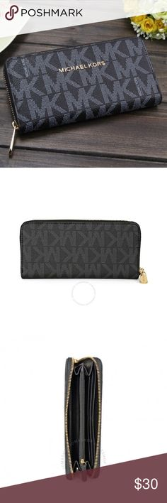 Jet Set Logo Black and Gold Continental Wallet Brand new with tags in packaging. Black and silver Wallet with MK logo lettering, gold accents and gold zip around continental enclosure.  This wallet is a D U P E   M I C H A E L   K O R S !   G R E A T   S T Y L E   A N D   Q U A L I T Y !   U N A U T H E N T I C !  Will ship immediately! Bags Wallets