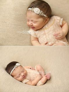 6M Lace Romper Prop Peachy Beige Baby Girl by LovelyBabyPhotoProps
