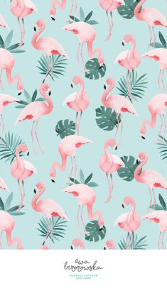 Flamingo - textile surface pattern design with flamingos on mint background with some tropical jungle palm leaves.