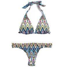Hermanny Sliding Halter Top and Hipster Bottom in Peacock-Multi, $71-87