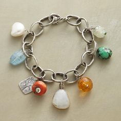 """LIFE'S CHARM BRACELET--Distinctive charm in a handmade bracelet by Jes MaHarry, shining with hand-hewn sterling silver links, etched sterling charms, turquoise, coral, citrine, aquamarine, cream sapphire and a rare trade bead. Sterling hook. USA. Exclusive. 7-1/4""""L"""