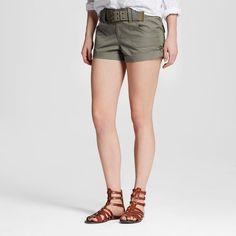 Women's Belted Cargo Shorts Sage (Green) 9 - Dollhouse (Juniors')