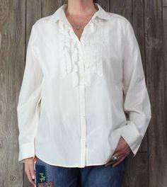New J Jill XL size Blouse Cream Ivory Ruffled Career Casual Lightweight Silk Top