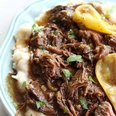 Mississippi Pot Roast {The BEST EVER Pot Roast} Recipe Main Dishes with chuck roast, ranch dressing, au jus gravy mix, butter, pepperoncini