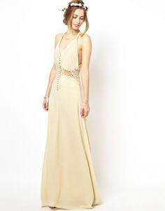 Agrandir Jarlo - Maxi robe à fines bretelles avec empiècement en dentelle